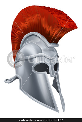 Trojan Helmet stock vector clipart, Illustration of an ancient Greek Warrior helmet, Spartan helmet, Roman helmet or Trojan helmet. by Christos Georghiou