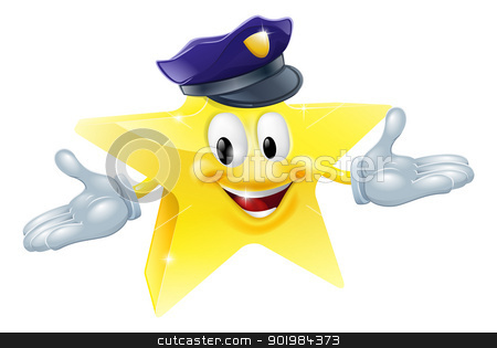 Police or security star man stock vector clipart, Drawing of a police or security star man smiling happily  by Christos Georghiou