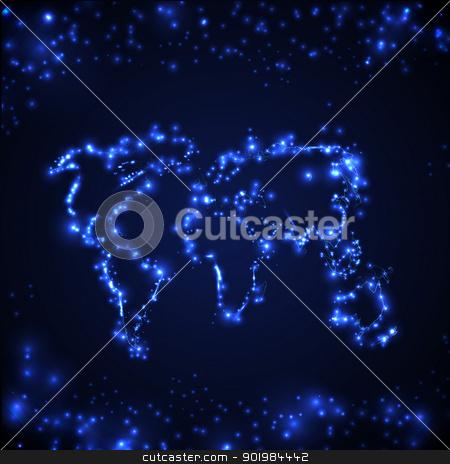 Digital world stock photo, Digital blue world map is shining. Vector illustration. by Kotkoa