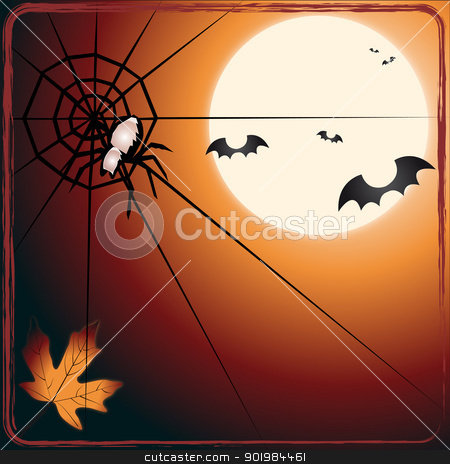 Bat versus spider stock vector clipart, An illustration of bats flying toward a spider by Elsyann