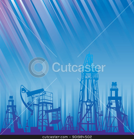 Oil rig and pump over blue luminous rays. stock photo, Oil rig and oil pump over blue luminous rays. EPS 8 vector file included. Vector illustration. by Kotkoa
