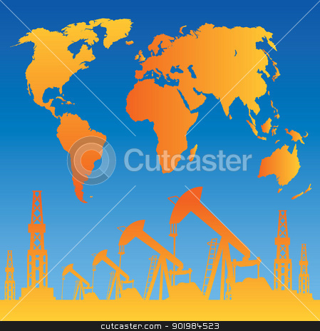 Map and oil rig stock photo, White World Map, Oil rig and oil pump. Vector illustration. by Kotkoa