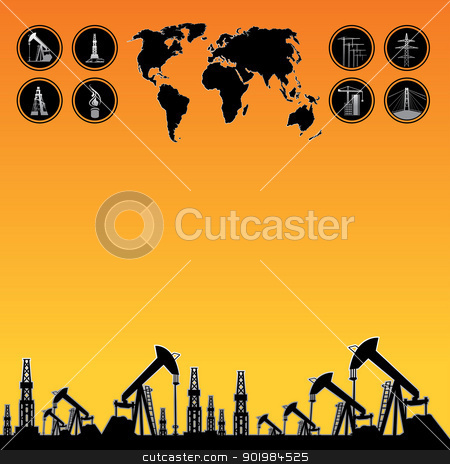 Map and oil rig stock photo, Text field for website over White World Map, Oil rig and oil pump. by Kotkoa