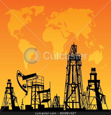 Map and oil rig stock photo, World Map, Oil rig and oil pump. by Kotkoa