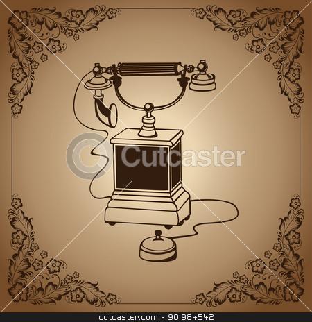 vintage phone stock photo, Vintage phone inside flower frame. Vector illustration. by Kotkoa