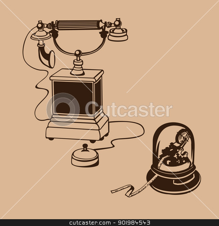 vintage phone stock photo, Vintage phone with telegraph paper. Vector illustration. by Kotkoa