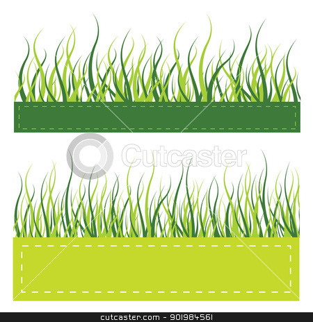 Green grass card stock photo, Green grass on invitatoin card with contour line, vector illustration by Kotkoa