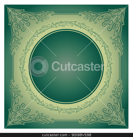 Vintage radial ornament with background stock photo, Vector illustration of vintage ornament over green background. Colourized of green. Vector illustration. by Kotkoa
