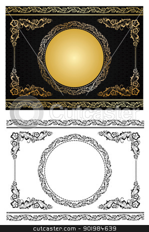 gold radial ornament stock photo, Ornament in style of Russian national tradition - vector illustration by Kotkoa