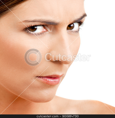 Funny face stock photo, Portrait of a beautiful woman with a funny face by ikostudio
