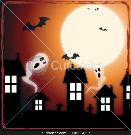 Ghosts in town stock vector clipart, An illustration of ghosts and bats appearing in the night city by Elsyann