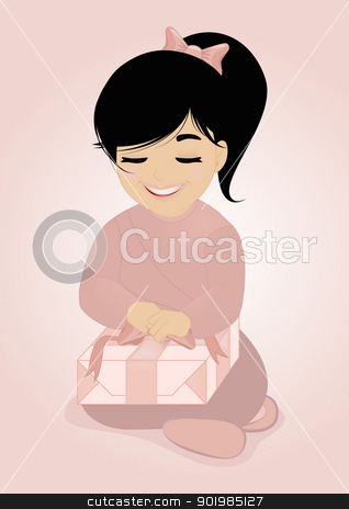 Little girl and gift stock vector clipart, An illustration of little girl holding a package, she will discover her gift, a doll or something else    by Elsyann