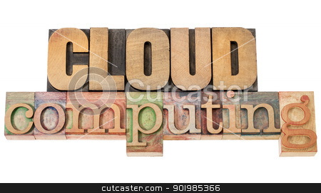 cloud computing in wood type stock photo, cloud computing - technology concept - isolated text in vintage letterpress wood type by Marek Uliasz