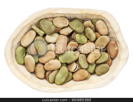 fava (broad) bean stock photo, dried fava (broad) bean in a rustic wood bowl isolated on white by Marek Uliasz