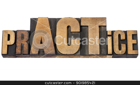 prACTice word in wood type stock photo, prACTice  -  isolated word in vintage letterpress wood type with over sized letters ACT by Marek Uliasz