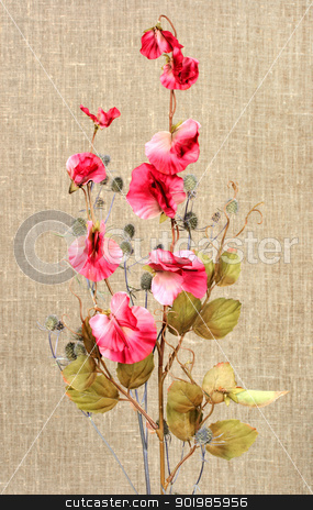 Bouquet with pink artificial flowers stock photo, Bouquet with pink artificial flowers and nature branch on textile background. Close-up. Studio photography. by Andrey Khritin