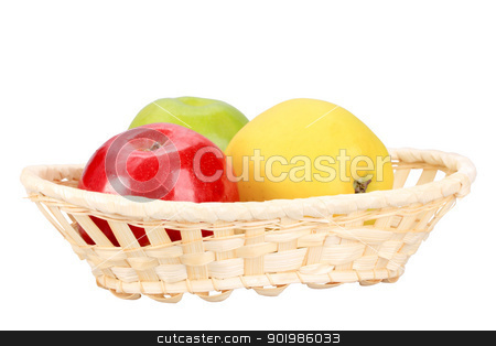 Three apples in basket stock photo, Three apples in basket. Isolated on white background. Close-up. Studio photography. by Andrey Khritin