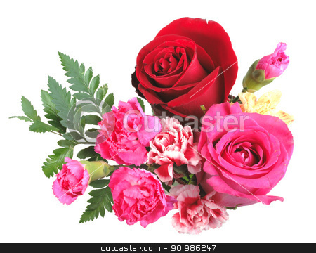 Bouquet of orange, pink and red flowers stock photo, Bouquet of orange, pink and red flowers and green leaf. Close-up. Isolated on white background. Studio photography. by Andrey Khritin