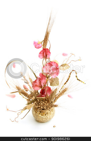 Bouquet with pink flowers and wheat stock photo, Bouquet with pink flowers and wheat on white background. Close-up. Studio photography. by Andrey Khritin