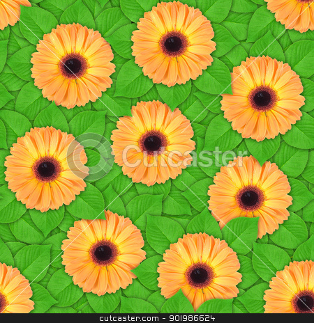 Seamless pattern of orange flowers and leaf stock photo, Abstract background of orange flowers and green leaf. Seamless pattern for your design. Close-up. Studio photography. by Andrey Khritin