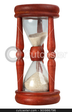Old-fashioned sand-glasses stock photo, Single old-fashioned sand-glasses in motion. Isolated on white background. Close-up. Studio photography. by Andrey Khritin