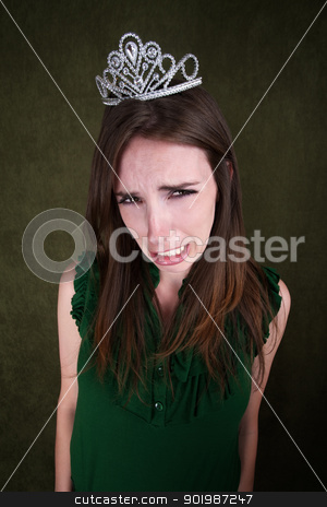 Tearful Young Woman stock photo, Tearful pretty young woman wearing a tiara by Scott Griessel
