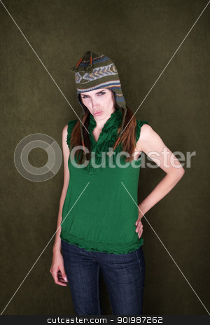 Sassy Young Woman stock photo, Sassy young Caucasian woman in short sleeves and sock monkey cap by Scott Griessel