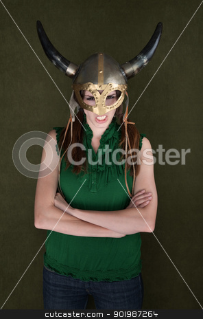 Woman in Viking Helmet stock photo, Angry woman with folded arms in Viking helmet by Scott Griessel