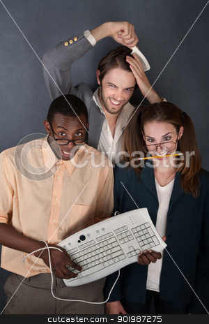 Trio of funny looking people stock photo, Computer geek, salesman combing his hair and a cross-eyed nerd by Scott Griessel