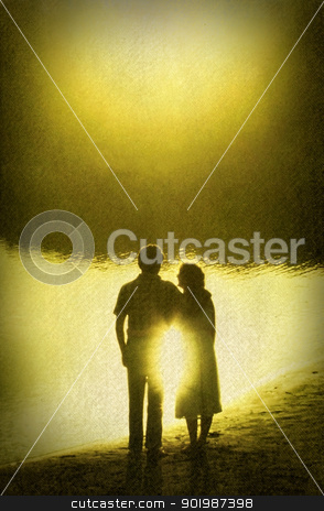 Retro Image Couple in Golden Sun Reflection stock photo, Retro Image of Loving Couple in Golden Sun Reflection - texture on image by Snap2Art