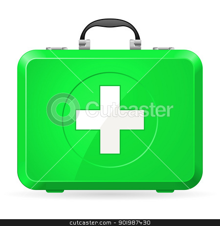 First aid kit stock photo, Green First Aid kit. Illustration on white by dvarg