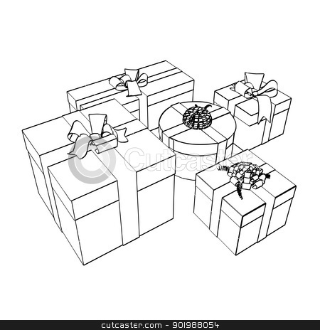Sketches gift packages stock photo, Sketches of holiday gift boxes decorated with ribbon isolated on white. Vector illustration. by Kotkoa