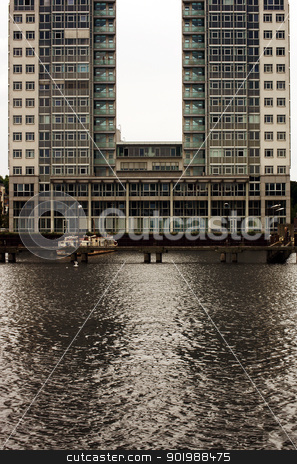 U shaped architecture stock photo, Modern architecture on the river Spree in Berlin.                    by Bastian Kienitz