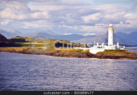 Scotland -  Eilean Musdile Lighthouse stock photo, The Eilean Musdile lighthouse on Lismore between Oban and the Isle of Mull by SRSImages