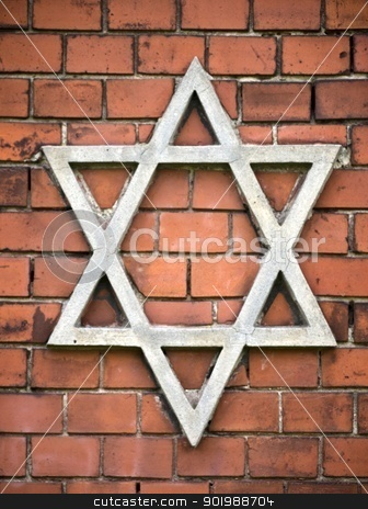 Star of David-Wall-red stock photo, Star of David on the Jewish cemetery  in Brandenburg, Germany by Heike Jestram