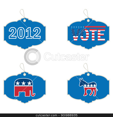 US presidential 2012 election label stock vector clipart, US presidential 2012 election label by Erdem