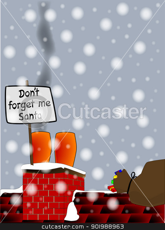 Don't Forget Me Santa. stock vector clipart, 'Don't forget me santa' left by a smoking chimney pot, Sant's sack is nearby. by Kotto