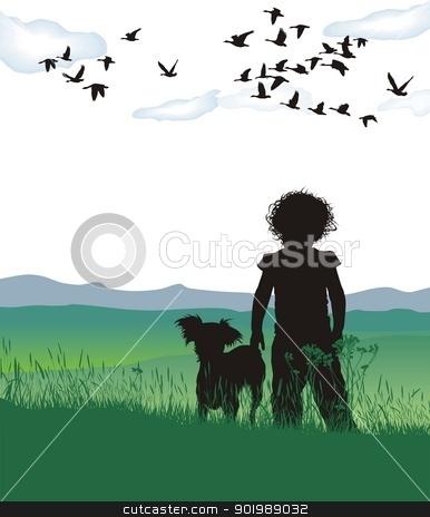Disheveled girl dog stock vector clipart, vectpr illustration of disheveled girl dog  by Čerešňák