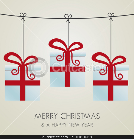 gift boxes hanging on a twine stock vector clipart, christmas gift boxes hanging on a twine by d3images