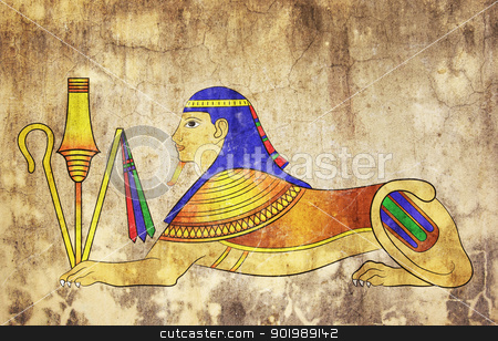 Sphinx - mythical creature of ancient Egypt stock photo, Image of the Sphinx - mythical creature of ancient Egypt - like mural painting  by Siloto