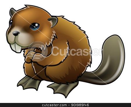 Cute Beaver stock vector clipart, A cute cartoon brown beaver mascot character  by Christos Georghiou