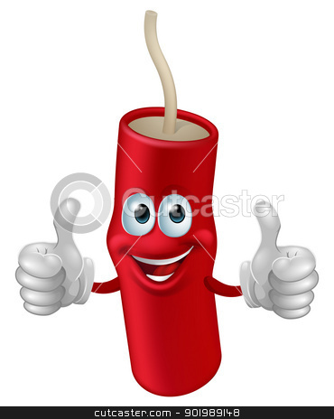 Cartoon dynamite man stock vector clipart, Cartoon cute happy firework man giving a double thumbs up by Christos Georghiou