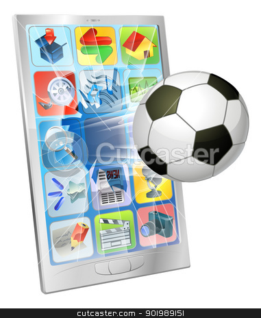 Soccer ball flying out of mobile phone stock vector clipart, Illustration of an soccer football ball flying out of mobile phone screen by Christos Georghiou