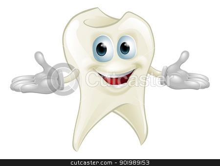 Cute tooth dental mascot stock vector clipart, Illustration of a cute happy tooth mascot dental cartoon character  by Christos Georghiou