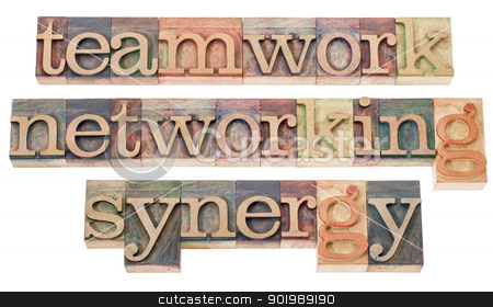 teamwork, networking and synergy stock photo, teamwork, networking and synergy - a collage of isolated words in vintage letterpress wood type by Marek Uliasz
