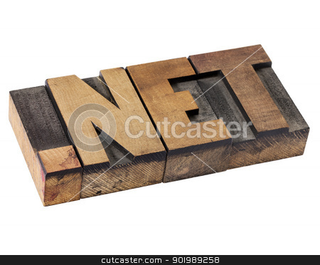 dot net - internet domain stock photo, dot net internet domain  for network - isolated text in vintage letterpress wood type by Marek Uliasz