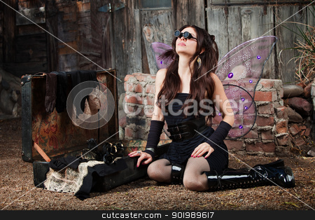 Fairy With Loupe Glasses Looks Up stock photo, Beautiful fairy wearing Loupe glasses looks up by Scott Griessel