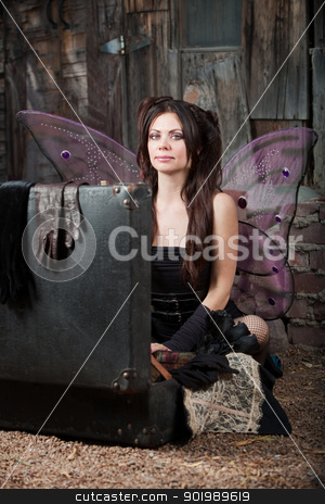 Fairy With Suitcase stock photo, Calm fairy sits on ground with open suitcase by Scott Griessel