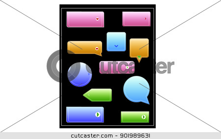 Button Pack stock vector clipart, buttons in various shapes and colors by Loryn