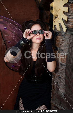 Fairy With Loupe stock photo, Fairy in rustic scene looks through loupe by Scott Griessel